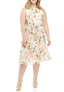8cbdd328bb8 ... Jessica Howard Plus Size Sleeveless Chiffon Dress With Belt