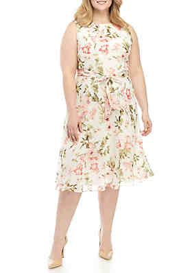 a6eceb856ac8 Jessica Howard Plus Size Sleeveless Chiffon Dress With Belt ...