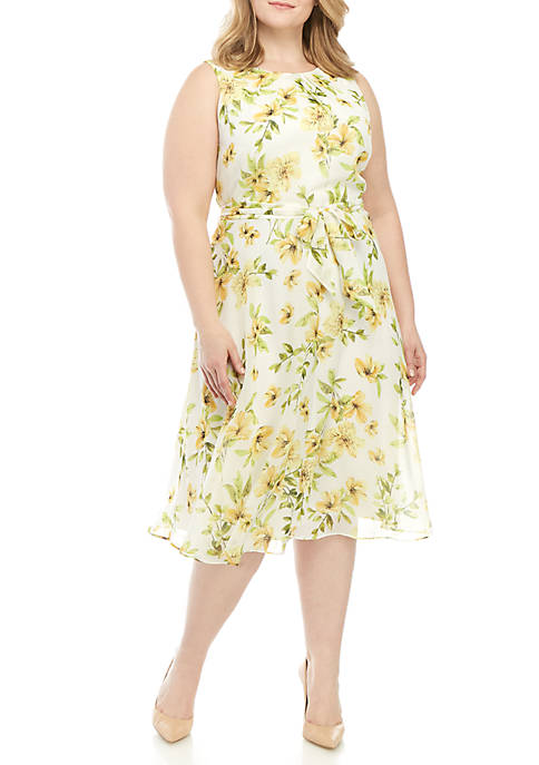 Jessica Howard Plus Size Sleeveless Chiffon Dress With