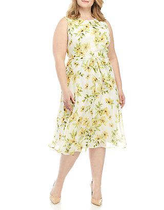299f615c9f Jessica Howard Plus Size Sleeveless Chiffon Dress With Belt ...