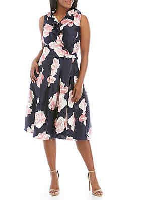 b73ea73927c Jessica Howard Plus Size Sleeveless Tie Waist Fit and Flare Ruffle Dress ...