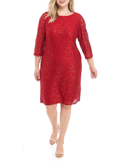Plus Size 3/4 Sleeve Sparkle Lace Shift Dress