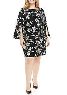Plus Size Long Bell Sleeve Foil Dress