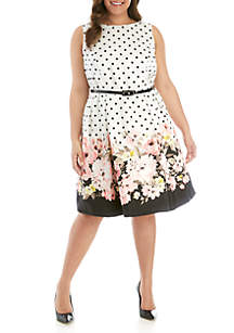 Jessica Howard Plus Size Polka Dot and Floral Dress