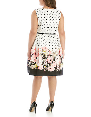 f94b5ce2f6810 Jessica Howard Plus Size Polka Dot and Floral Dress | belk