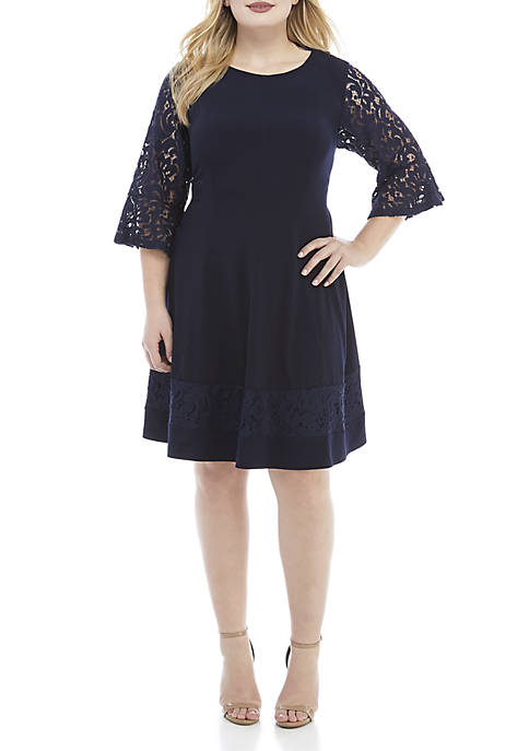 Jessica Howard Plus Size 3/4 Lace Sleeve Fit
