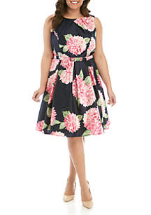 e26acb5e2b8e8 Plus Size Tencel Dress · Jessica Howard Plus Size Sleeveless Shantung Fit  and Flare Belted Dress
