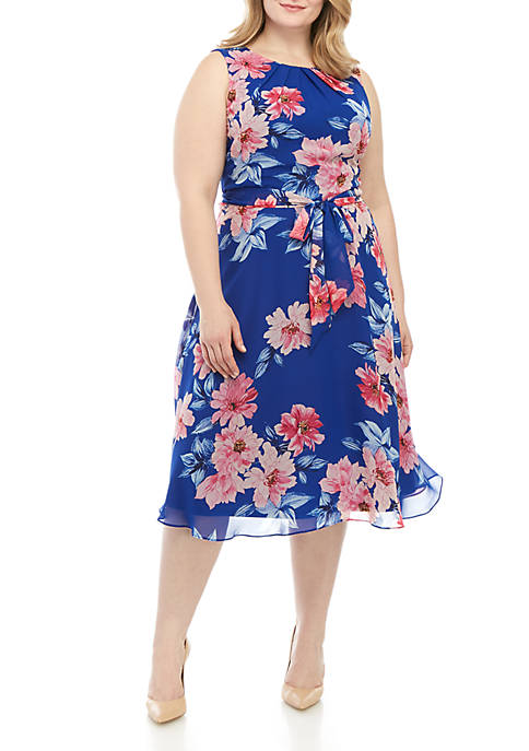 Plus Size Sleeveless Chiffon Dress With Belt