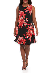 Jessica Howard Plus Size Sleeveless Chiffon Floral A Line Dress