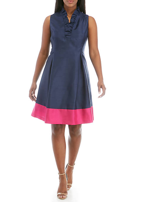Plus Size Shantung Fit and Flare Ruffle Dress