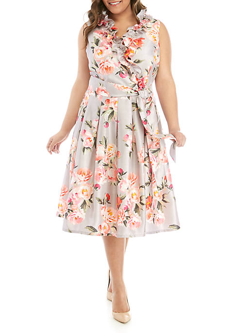 Plus Size Sleeveless Shantung Fit and Flare Ruffle Dress