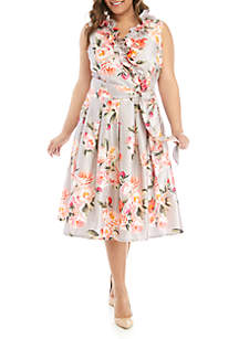 Jessica Howard Plus Size Sleeveless Shantung Fit and Flare Ruffle Dress