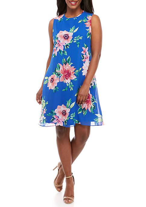 Plus Size Sleeveless Chiffon Floral A Line Dress