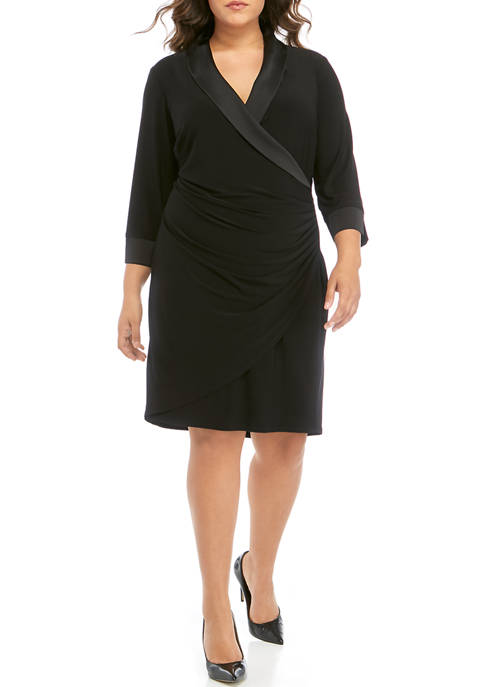 Plus Size Side Ruched Dress with Satin Trim