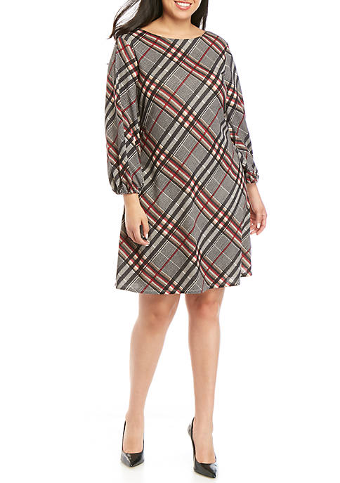Plus Size Plaid Shift Dress