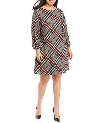Plus Size Plaid Shift Dress