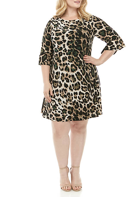 Jessica Howard Plus Size Bell Sleeve Animal Print