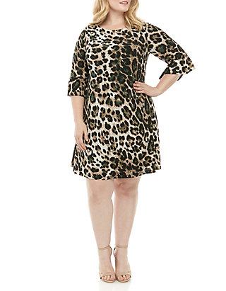 Plus Size Bell Sleeve Animal Print Dress
