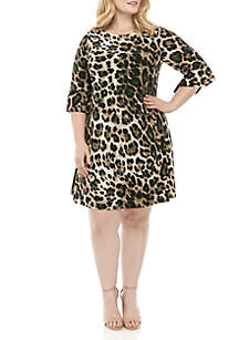 Jessica Howard Plus Size Bell Sleeve Animal Print Dress