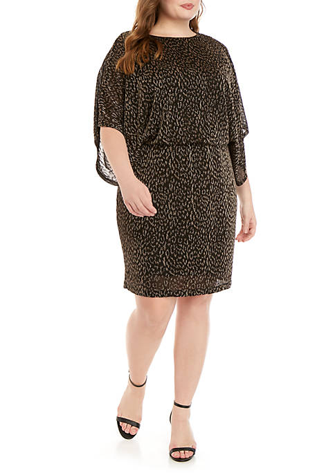 Plus Size Metallic Leopard Short Dress