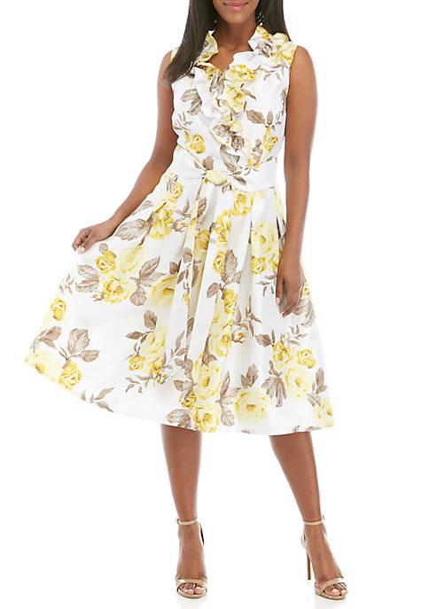 Plus Size Sleeveless Shantung Tie Waist Fit and Flare Ruffle Dress