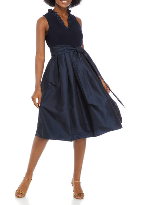 Jessica Howard Womens Ruffle Collar Cocktail Dress with