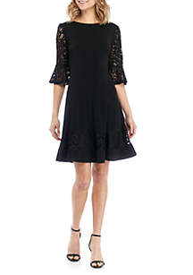 e1084354032d ... Jessica Howard 3/4 Sleeve Lace Fit And Flare Dress