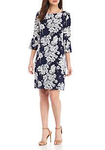 Laura Jeffries Three-Quarter Sleeve Floral Print Dress