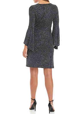 Jessica Howard Sparkle Bell Sleeve Shift Dress