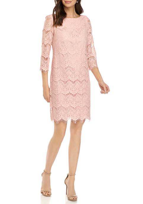 J Howard Womens 3/4 Sleeve Lace Shift Dress