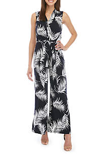 d6df2a20d174 BCBGeneration Essentials Jumpsuit · Jessica Howard Sleeveless Leaf Print  Jumpsuit