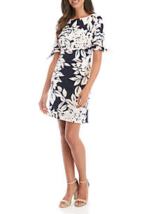 6d908386bad1e9 ... Jessica Howard Short Tie Sleeve Floral Shift Dress