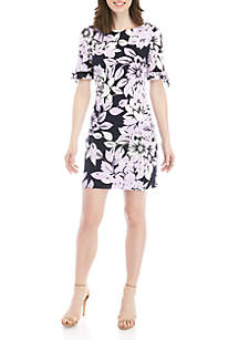 dc92e000054 Jessica Howard Ruffle Neck Fit and Flare Dress · Jessica Howard Short Tie  Sleeve Floral Shift Dress