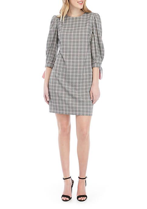 Jessica Howard Long Sleeve Plaid Dress With Tie