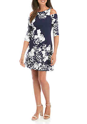 340fd004ed Jessica Howard Cold Shoulder Floral Shift Dress ...