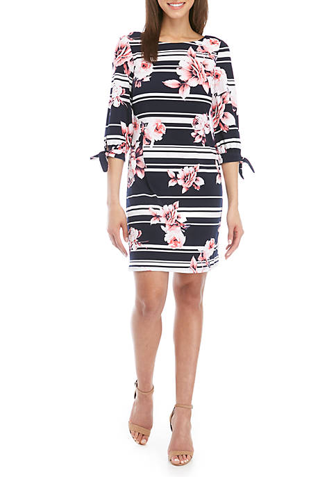 Jessica Howard 3/4 Tie Sleeve Stripe Floral Shift