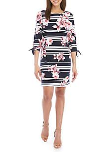Jessica Howard 3/4 Tie Sleeve Stripe Floral Shift Dress