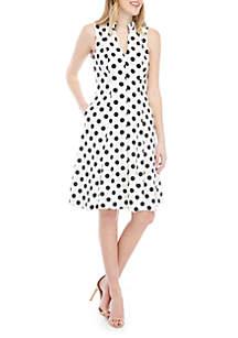... Jessica Howard Sleeveless V Neck Polka Dot Fit And Flare Dress 6034af299