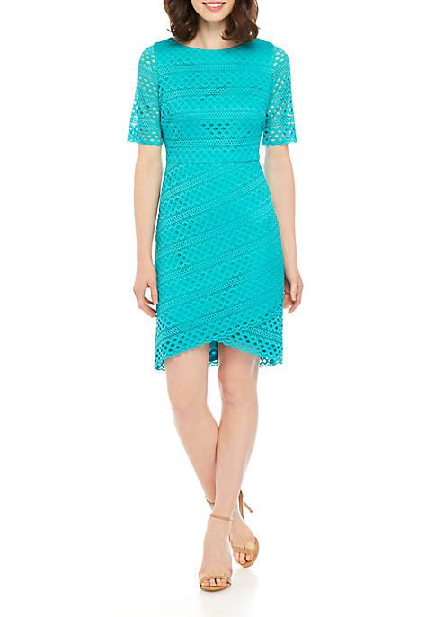 Elbow Sleeve Eyelet Knit Sheath Dress