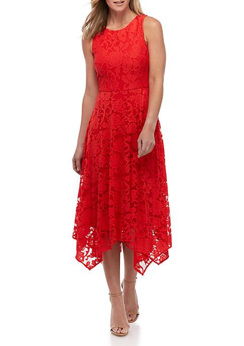 Jessica Howard Sleeveless Lace Asymmetrical Hem Dress