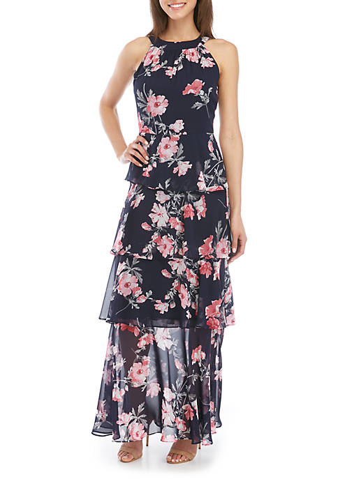 Jessica Howard Halter Neck Tiered Chiffon Maxi Dress