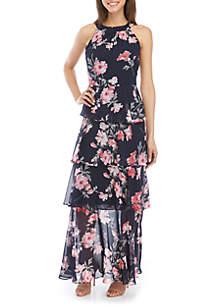 Jessica Howard Halter Neck Tiered Chiffon Maxi Dress