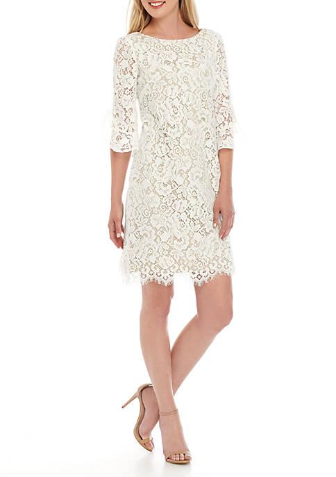 Ruffle Sleeve Lace Shift Dress