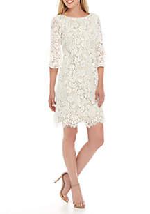015b33e95c75 ... Jessica Howard Ruffle Sleeve Lace Shift Dress