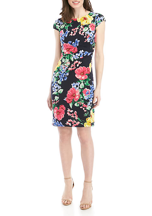 Jessica Howard Cap Sleeve Floral Sheath Dress