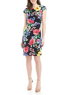 Jessica Howard Cap Sleeve Floral Sheath Dress