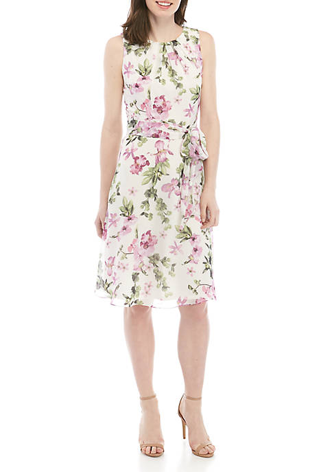Jessica Howard Sleeveless Chiffon Fit and Flare Dress