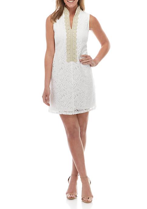 Jessica Howard Sleeveless Lace Mandarin Collar Sheath Dress