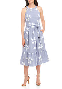 Jessica Howard Cotton Halter Dress with Flowers
