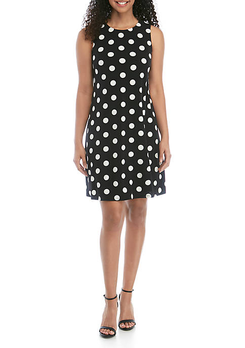Sleeveless A Line Polka Dot Dress